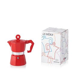 La Moka Red 3 Cup Moka Pot