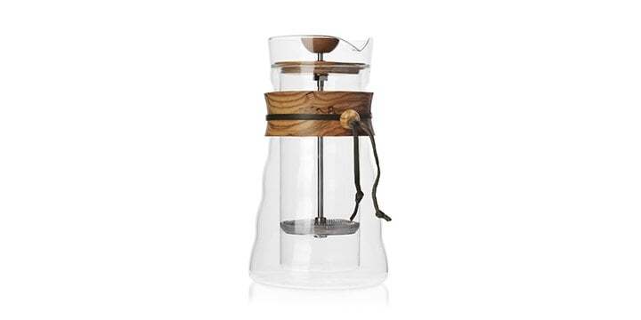 Glass french press coffee maker with wooden grip