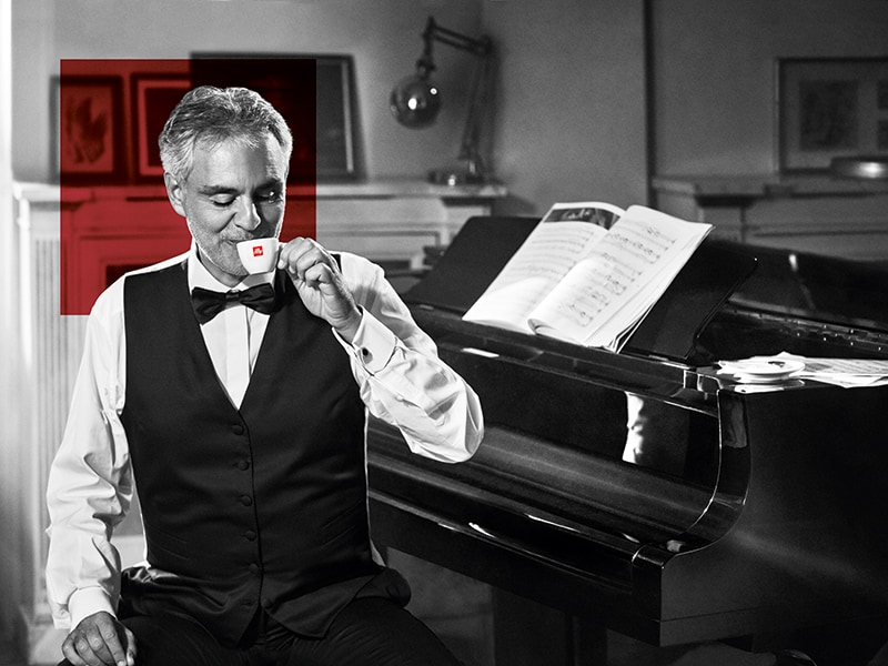Andrea Bocelli drinking an illy espresso