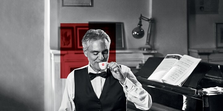 Bocelli drinks illy