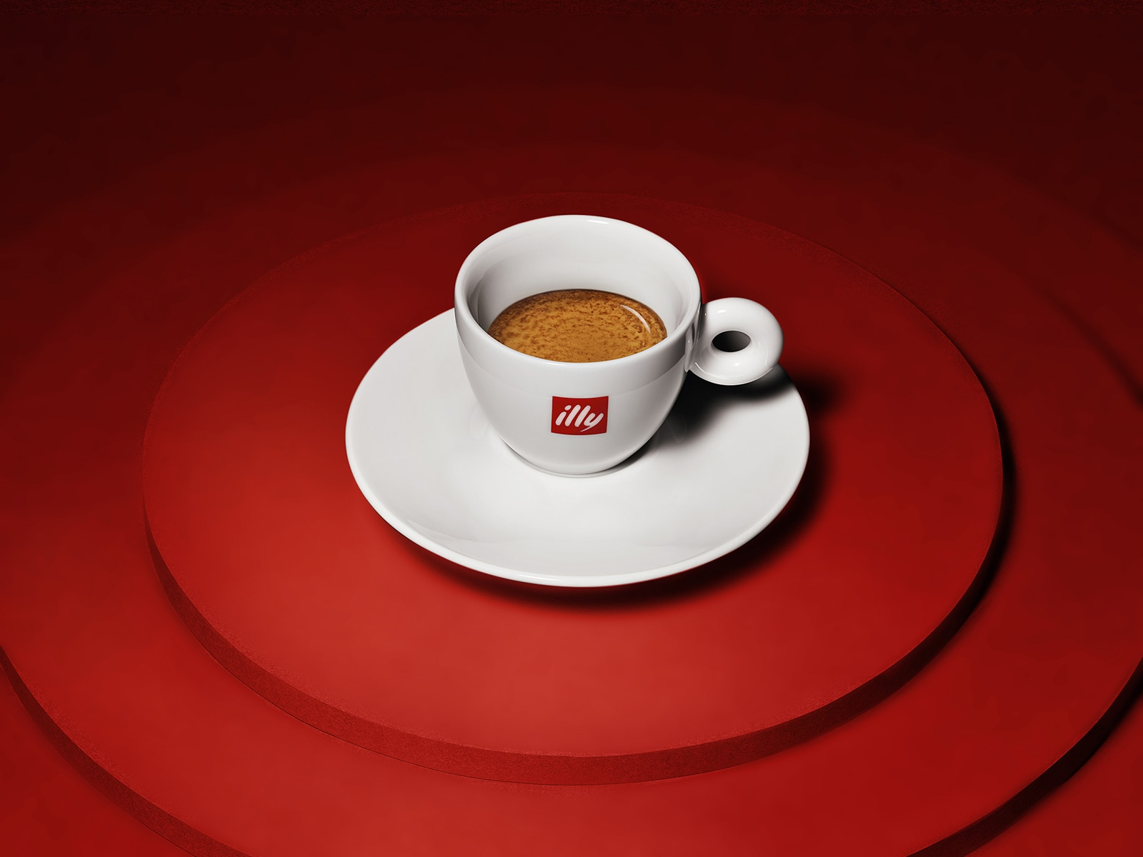Cup of espresso with red background