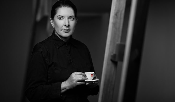 Marina Abramovic with illy coffee cup