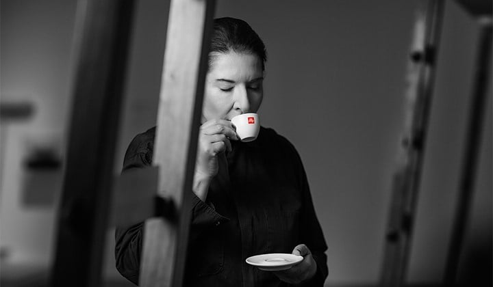 Marina Abramovic drinks illy coffee