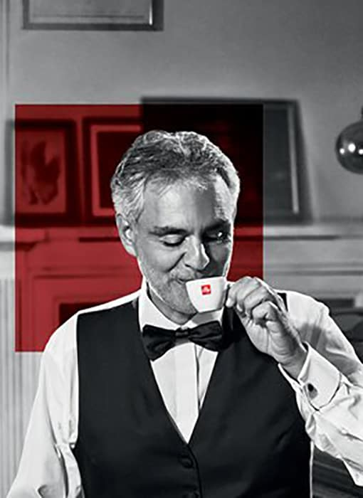 Andrea Bocelli with illy coffee