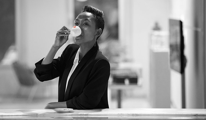 Philotée Mukiza drinks illy coffee