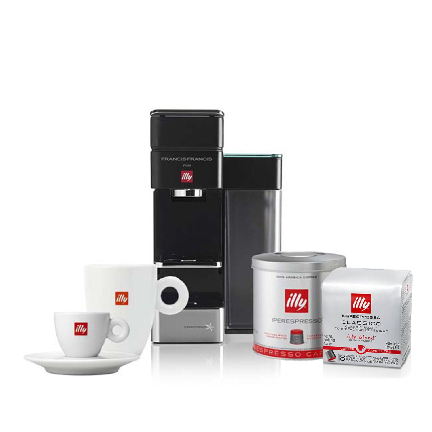 illy Y5 milk & espresso bluetooth, amazon dash replenishment enabled bundle front view.