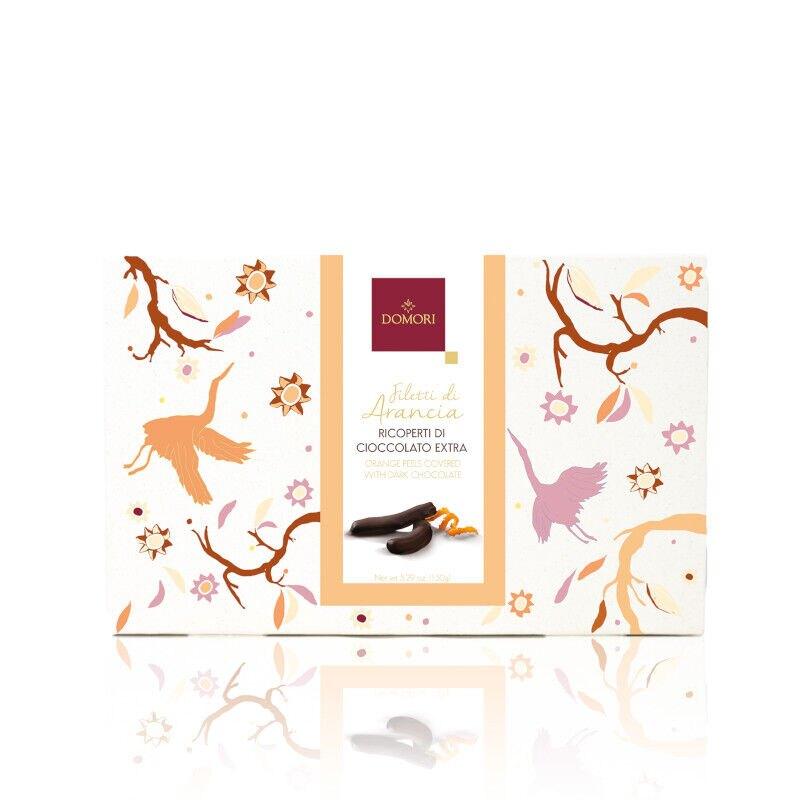 Filetti di arancia ricoperti di cioccolato fondente Domori - 150gr