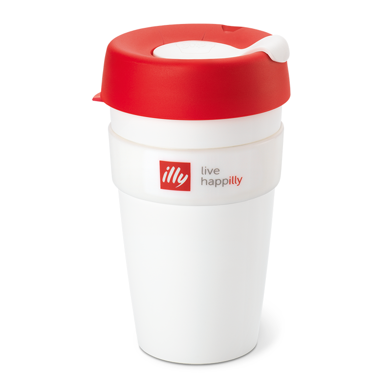 KeepCup Live Happilly Monochrome White & Red - Travel Coffee Cup