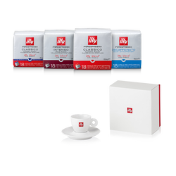 Koffiepakket: koffiecapsules illy Blend en espressokopje met logo