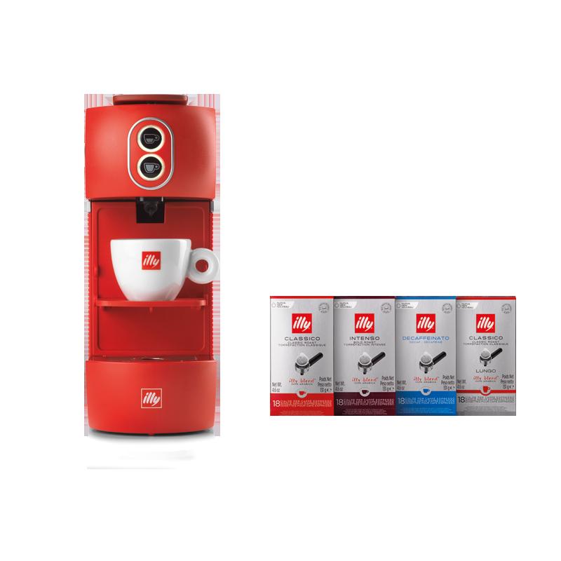 E.S.E. Pads Kaffeemaschine inkl. 4er Set Pads Classico, Intenso, Lungo und Entkoffeiniert