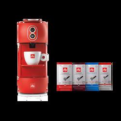 E.S.E. Pads Kaffeemaschine inkl. 4er Set Pads: Classico, Intenso, Lungo, entkoffeiniert