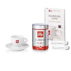 Idee regalo: tazzina da caffè, 2 cucchiaini da caffè, un barattolo di caffè macinato espresso e libro sul caffè