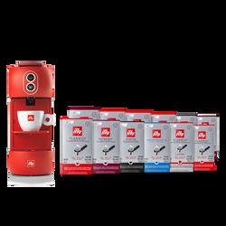 Kit machine à café rouge avec dosettes Classico, Intenso, Forte, Lungo et Décaféiné