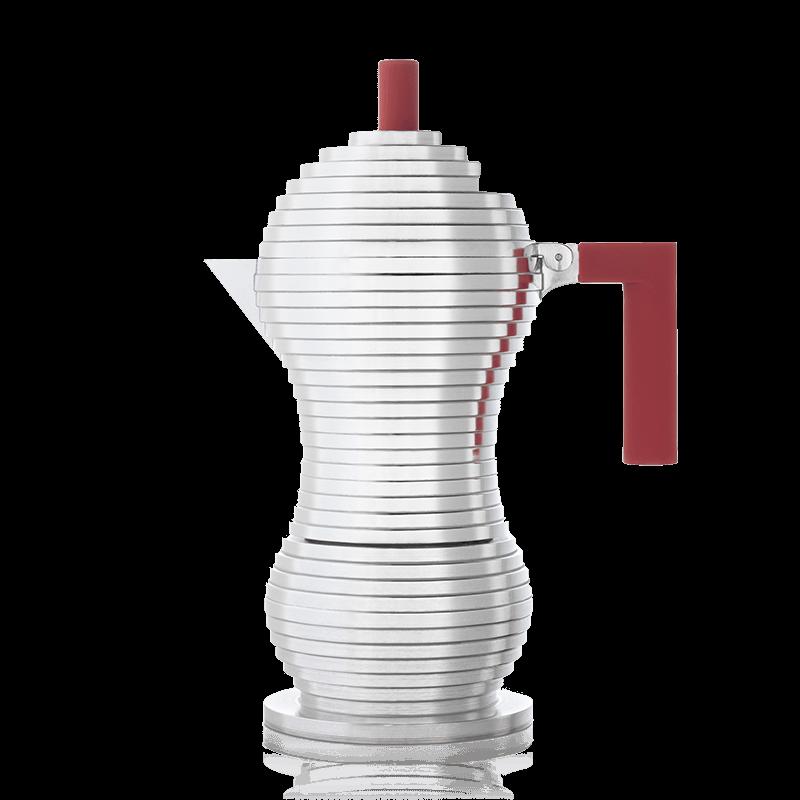 Moka a induzione Alessi Pulcina rossa - Caffettiera da 6 tazze