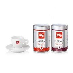Idee regalo: 2 barattoli caffè macinato moka 250g tostato CLASSICO e INTENSO e tazzina illy