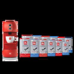 Kit máquina de café vermelha com sachês E.S.E. 120v (clássico e descafeinado)