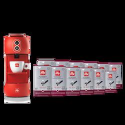 Kit máquina de café roja con monodosis E.S.E. Intenso