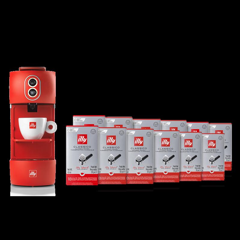 Kit machine à café rouge et 12 paquets de dosettes Classico