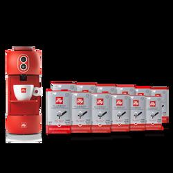 Kaffeemaschine rot mit 12 Verpackungen E.S.E.- Kaffeepads Classico