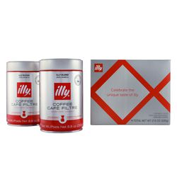 illy 2 cans of coffee holiday gift box front view.