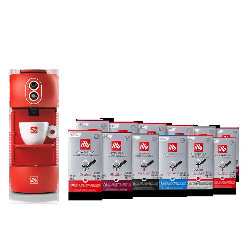 Offerta macchina caffè illy ESE rossa con cialde ESE tostato Classico, Intenso, Forte, Lungo e Decaffeinato