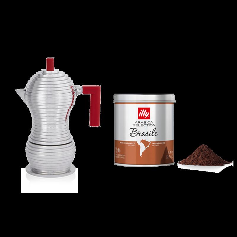 Moka pot Alessi Pulcina with ground coffee Arabica Selection Brazil - 125 gr