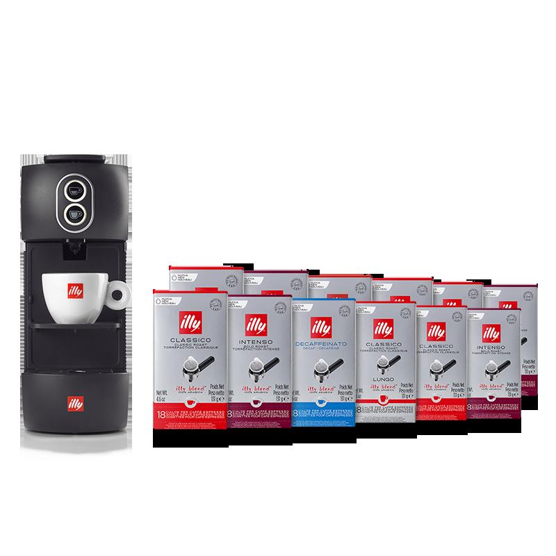 Kaffeemaschine in schwarz inkl. 12er Set Pads Classico, Intenso, Lungo und Entkoffeiniert