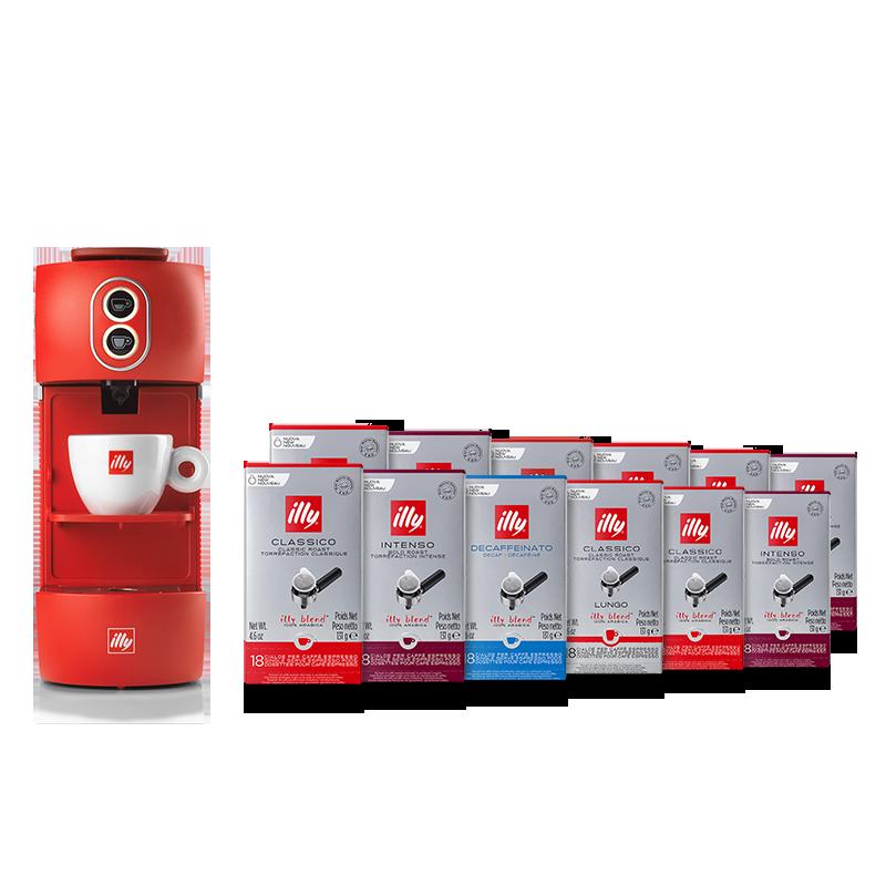 Bundle macchina da caffè rossa con cialde Classico, Intenso, Lungo e Decaffeinato