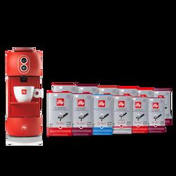 Kaffeemaschine rot mit  Kaffeepads Classico, Intenso, Lungo und Entkoffeiniert