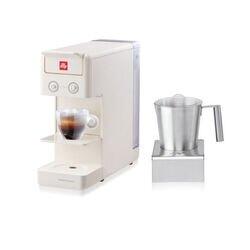 Kit máquina café Y3.3 blanca con Cappuccinador eléctrico Milk Frother illy