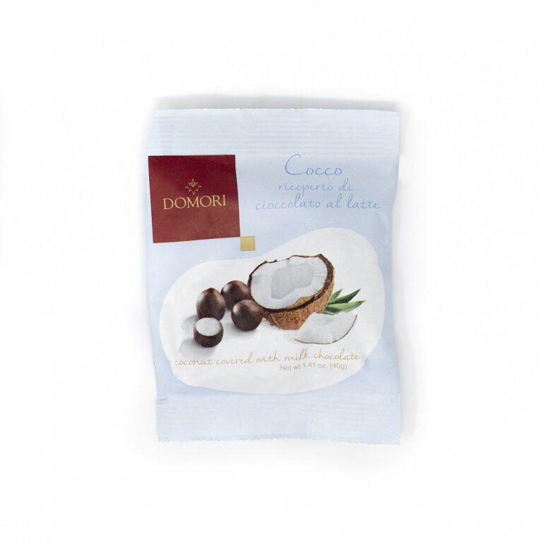 Dragée di cocco ricoperte di cacao al latte Domori da 40gr