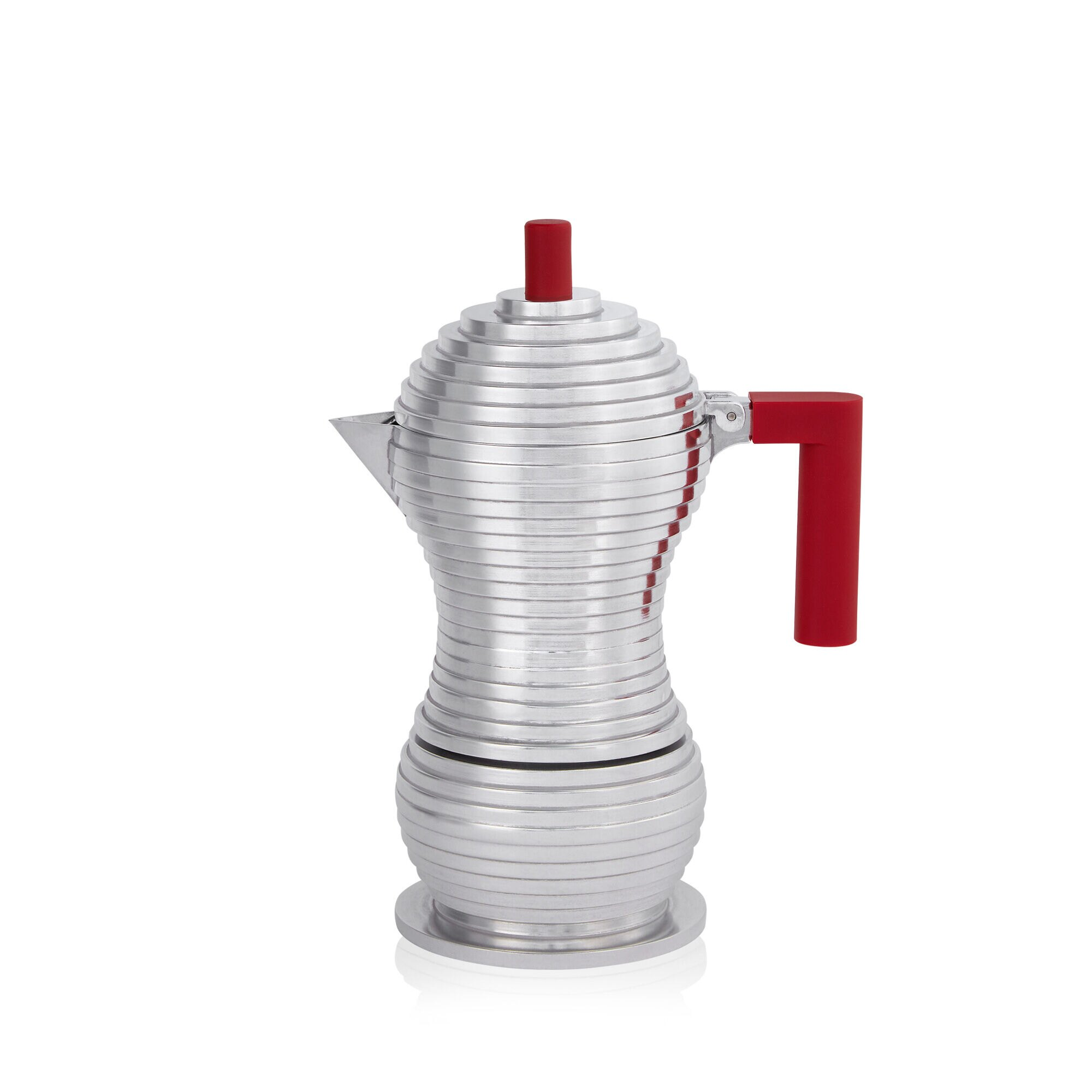 Alessi Pulcina Moka Pot Red side view