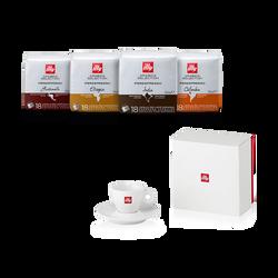Koffiepakket: koffiecapsules Arabica Selection en espressokopje met logo