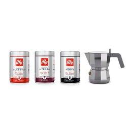 Moka Alessi da 1 tazza e 3 barattoli di caffè macinato da 250g