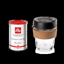 Geschenkidee für Kaffeeliebhaber: CLASSICO Instantkaffee mit dem 350 ml illy Reisebecher KeepCup Travel Mug aus Glas