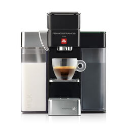 Francis Francis Y5 Milk Black Espresso Machine front view