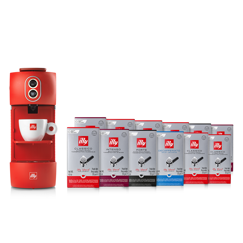 Bundle illy ESE Coffee Machine red and ESE pods Classico, Intenso, Forte and Decaffeinated