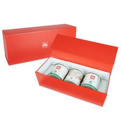 illy Decaffeinated iperEspresso 3-Tin Gift Set Front View