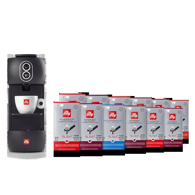 Bundle E.S.E. pods Coffee Machine black with E.S.E. pods Classico, Intenso, and Decaffeinated