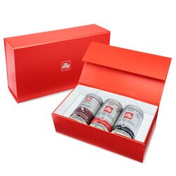 illy Whole Bean Bold Flavor Lovers 3-Pack Gift Set Front View.