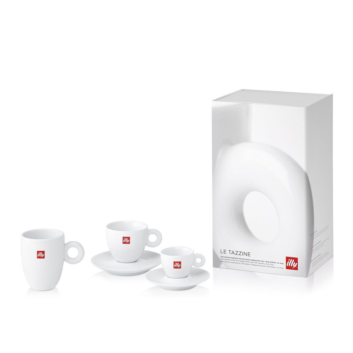 illy Trio of Cups Gift Set - One Espresso Cup, One Cappuccino Cup & One Mug