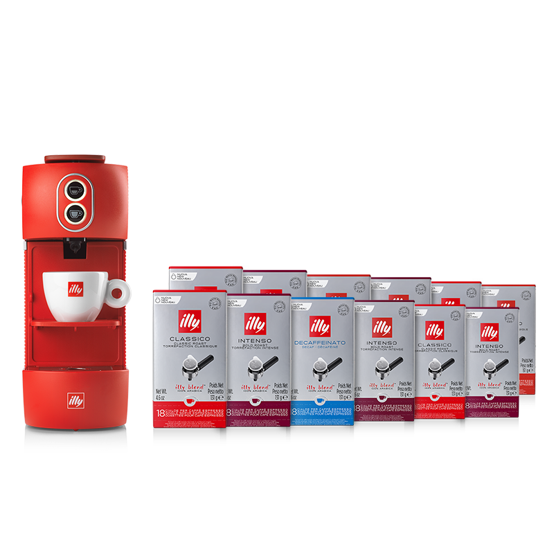 Bundle E.S.E. pods Coffee Machine red with E.S.E. pods Classico, Intenso, and Decaffeinated