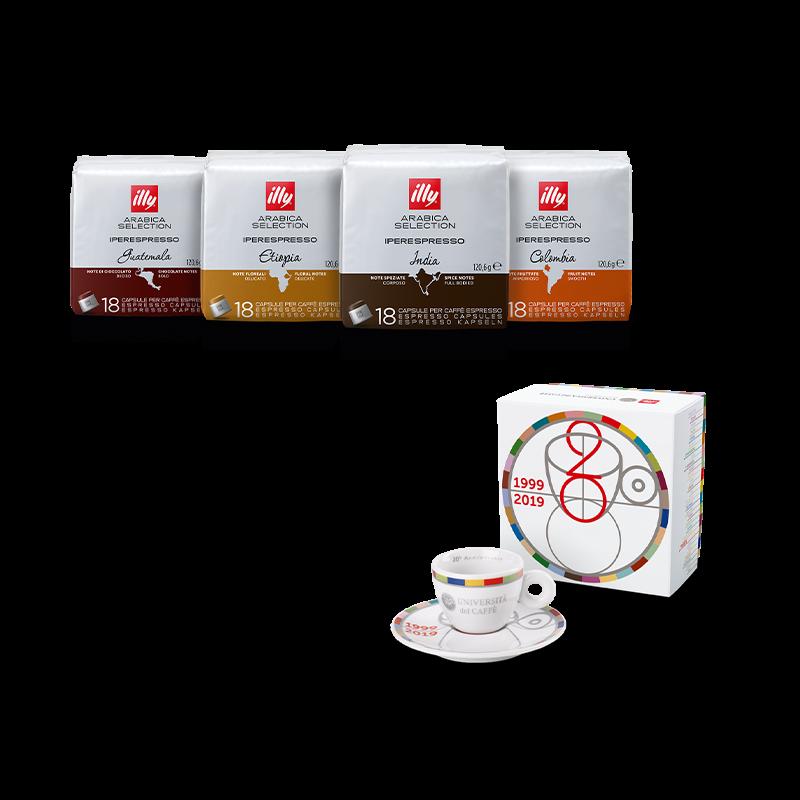 Kit degustazione caffè - 4 confezioni capsule Iperespresso Arabica Selection e tazzina 20° anniversario Università del Caffè