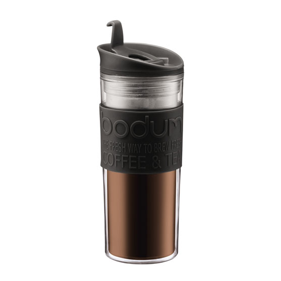 Savor the great taste of illy coffee on the go with this Bodum® Travel Mug. This Travel Mug is made from plastic, rubber and silicone. This mug features a removable lid with a stopper at the opening.