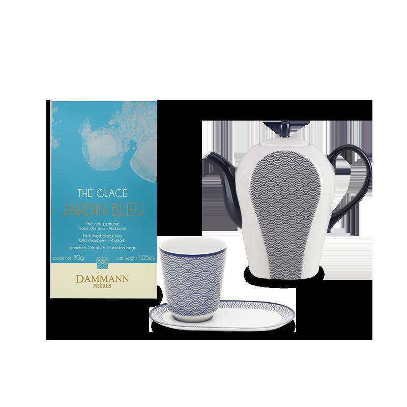 Tè freddo Dammann Jardin Bleu, teiera Auteuil e bicchiere da tè Auteuil blu