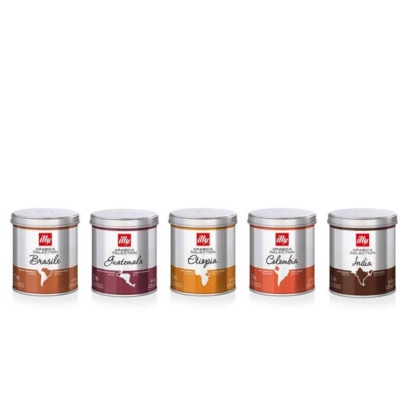 5 barattoli di caffè macinato: Arabica selection
