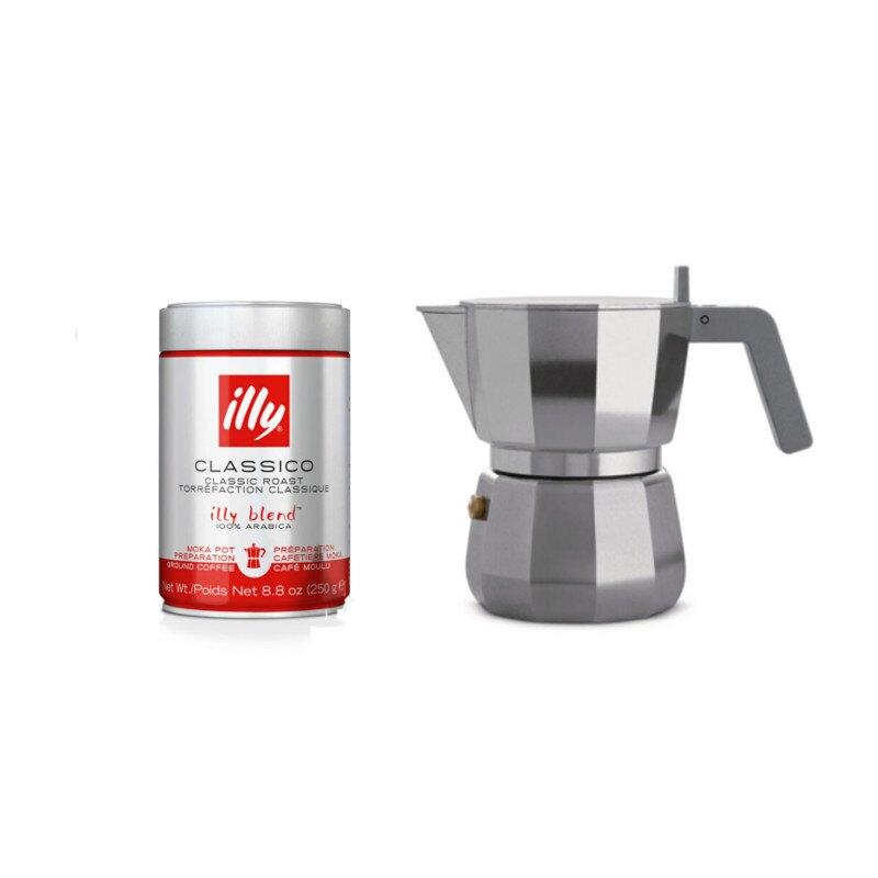 Ground Coffee and Alessi Moka Pot (3 cup) Bundle