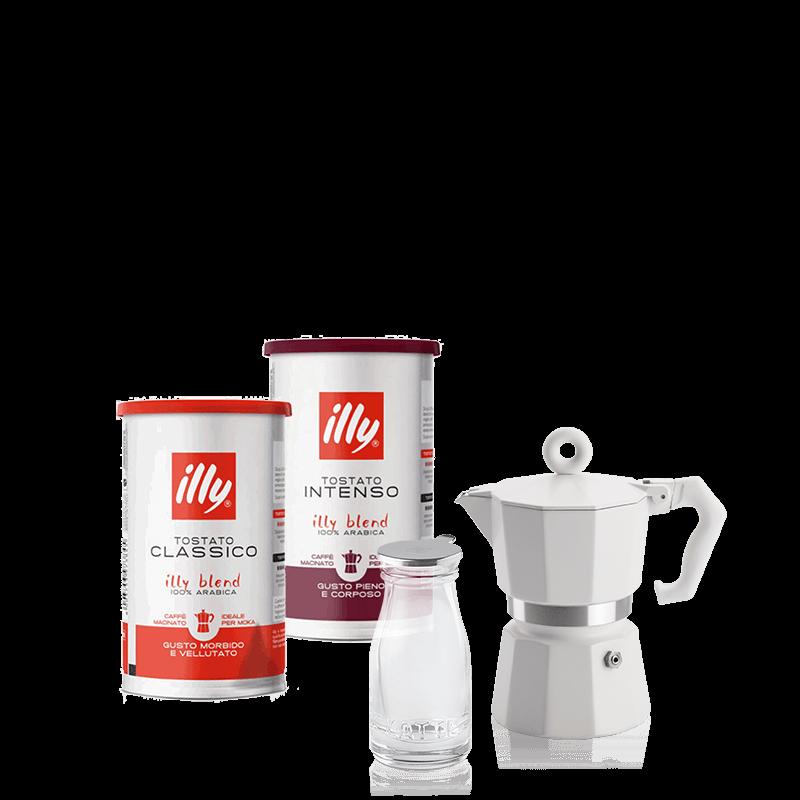 Caffè Moka Classico ed Intenso con Caffettiera e Mini Lattiera