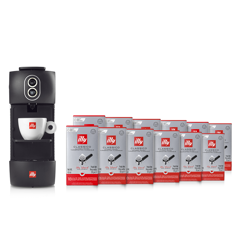 Kit machine à café noire et 12 paquets de dosettes Classico
