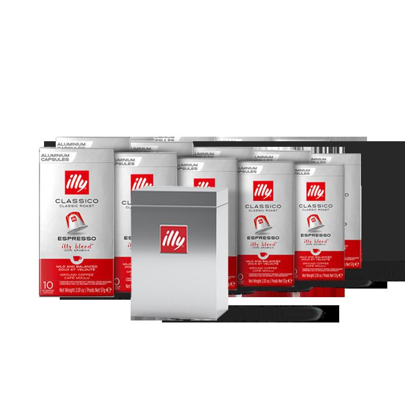 10 boîtes de capsules compatibles* CLASSICO + 1 boîte métal OFFERTE